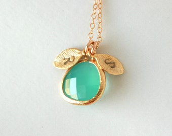 Cusomize initial necklace, aqua blue in bezel, gold initial leaf necklace - wedding jewelry, bridal jewelry, bridesmaids gifts, birthday