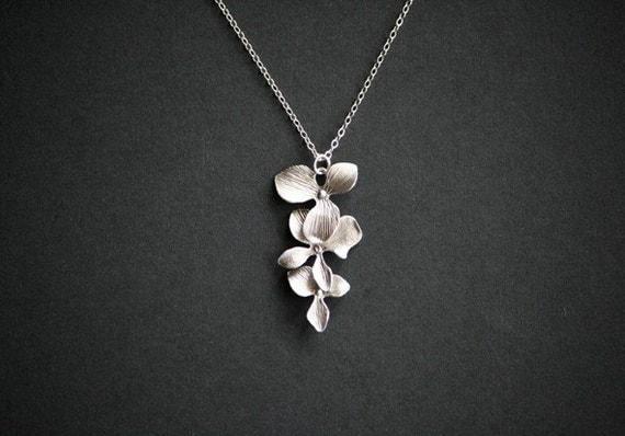 Silver Orchid Flower Necklace Flower Jewelry Wedding Jewelry