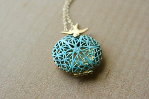 Bird locket necklace - Teal green blue patina locket, brass sparrow bird, gold necklace, bird necklace, cute everyday wear