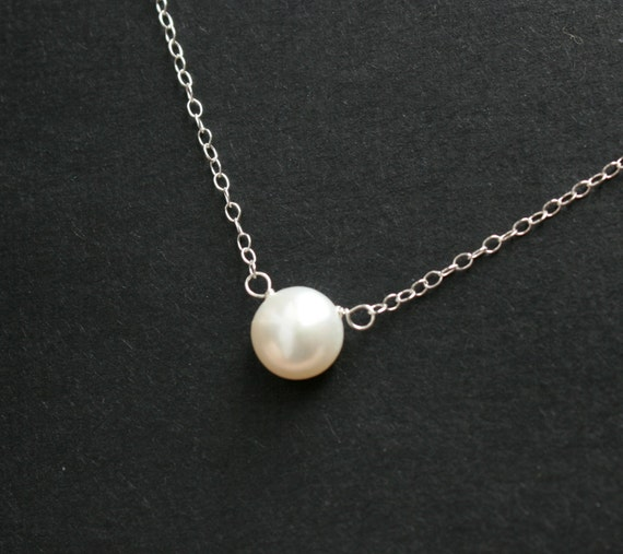 items similar to dainty pearl necklace sterling silver