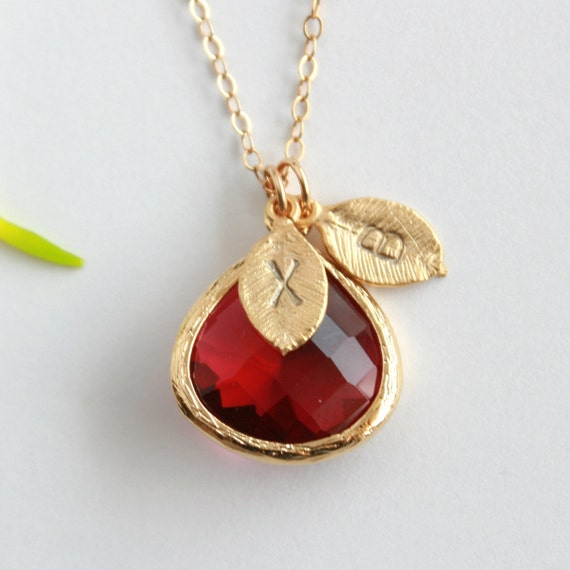 Initial necklace garnet red glass stone in bezel, initial leaf charm, gold necklace - personalized necklace jewelry gift, mothers day gift