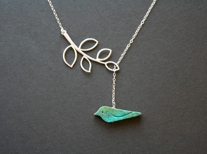 Turquoise Bird Necklace Silver Leaf Necklace Bird Jewelry