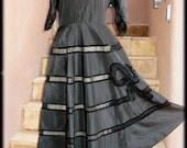 1940's - Black taffetas and velvet dress with petticoat