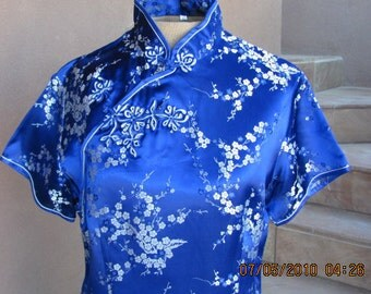 Gorgeous Royal Blue and Silver Chinese Dress