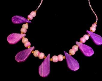 Vintage 70s - Purple amethyst tear drop necklace