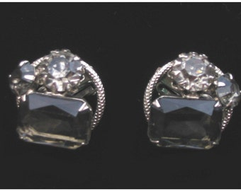 Vintage 60s - Grey Smoked Topaz clip Earrings