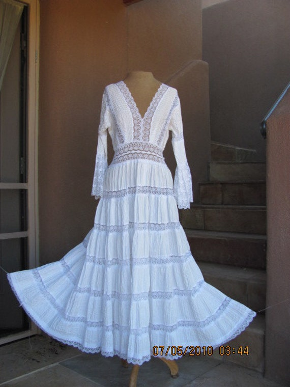 White lace and ribbed cotton Mexican Fiesta Dress