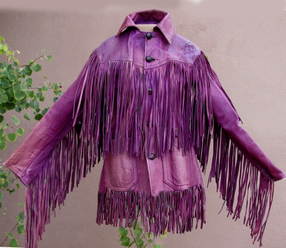 VINTAGE 70s - Jimi Hendrix Style Purple Leather Fringed Jacket
