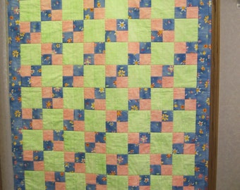 Blue, Green, and Pink Girl Baby Quilt
