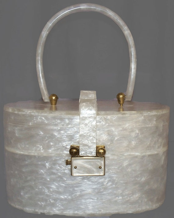 RESERVED Lucite Purse Wilardy Oval Double Decker Purse 1950s Summer White Swirl