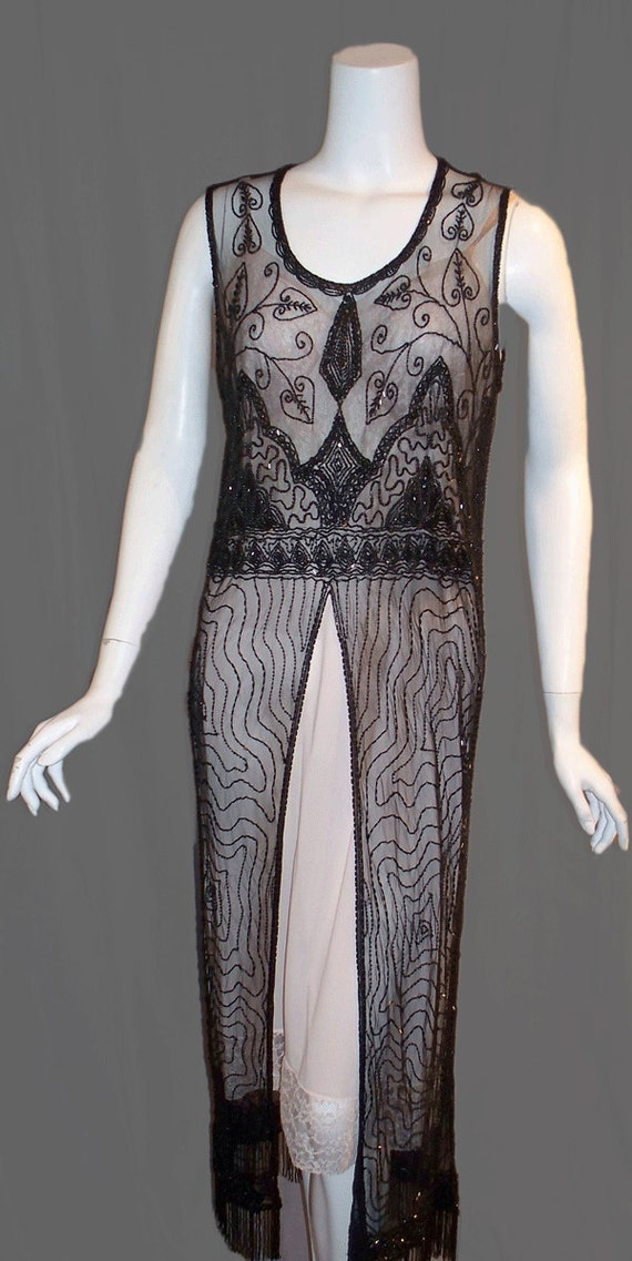 RESERVED FOR KATE Beaded Flapper Dress 1920s Boardwalk Empire Gatsby Gown Black Art Deco Style