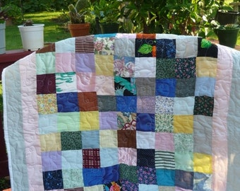 nine patchwork quilt, nursery bedding ,handmade ,quilt ,unique gifts crib blanket, crib bedding, toddles quilt