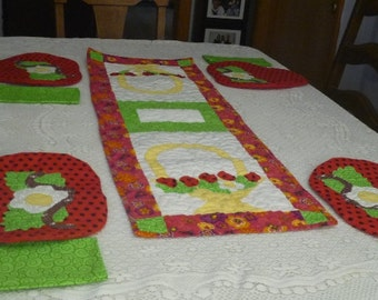 Strawberry table runner,table setting,table accents,machine quilted,cotton fabric, designer fabric,dinner room, table topper