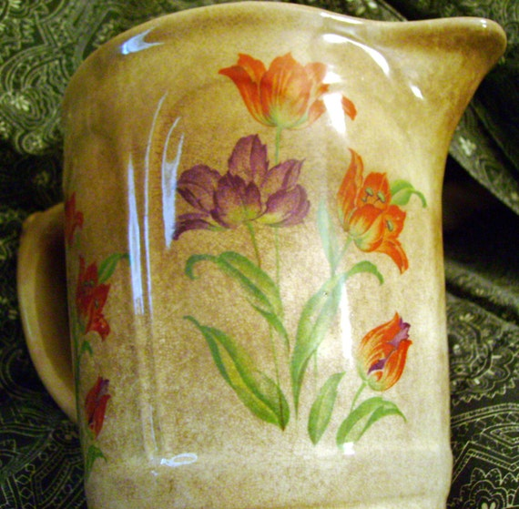 Harker Hotoven Pottery Pitcher Milk Batter in Ruffled Tulip Pattern & Panels French Country Chic