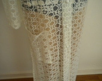 1970's Full Length Lace Vintage Beach Cover by SHERRY of Miami - Size Medium