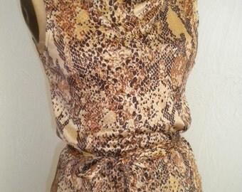 Slinky Snake Print Nylon JOHNNYE Vintage Skirt Set - Small