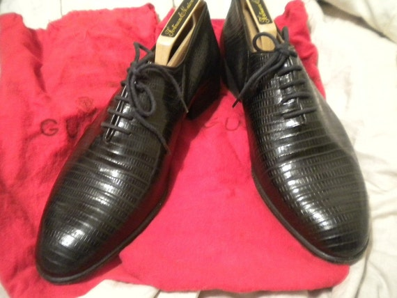 Vintage Black Lizard GUCCI Lace Up Mens Shoes 42.5