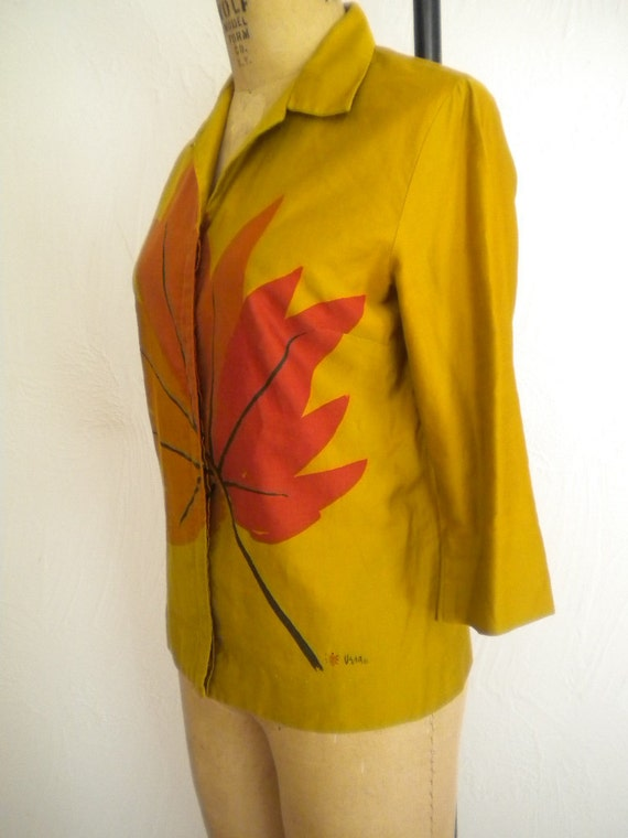 It's Fall Large Maple Leaf VERA NEUMANN 1960's Polished Cotton Autumn Blouse