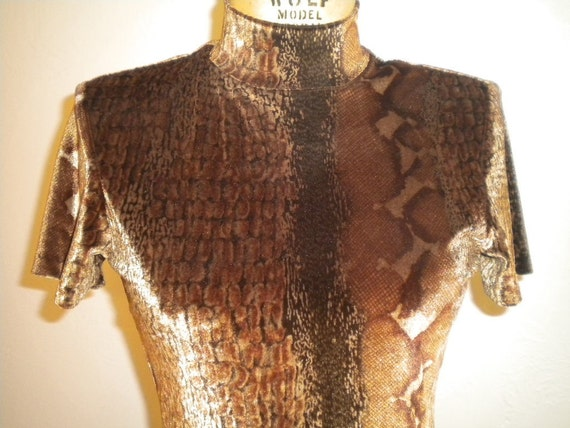 Brown Reptile Print Stretch Velvet CACHE Vintage T-Back Bodysuit - Small