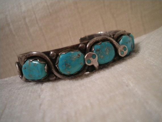 EFFIE C. Zuni Turquoise and Sterling Vintage Snake Bracelet