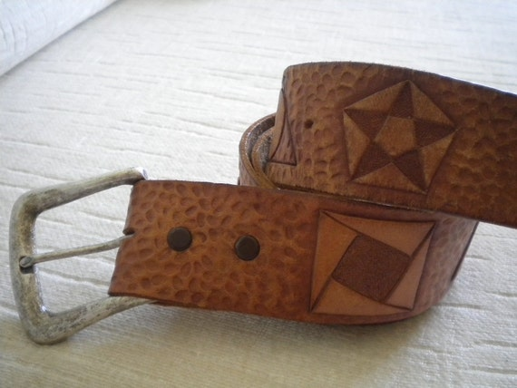 Vintage Hand Tooled Geometric Shapes Leather Belt - 33