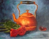 Copper Pot and Roses, Original Oil Painting Becky Whitney 11x14