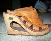 RESERVED FOR ROBIN People Movers HIppie leather sandle wedges size 7
