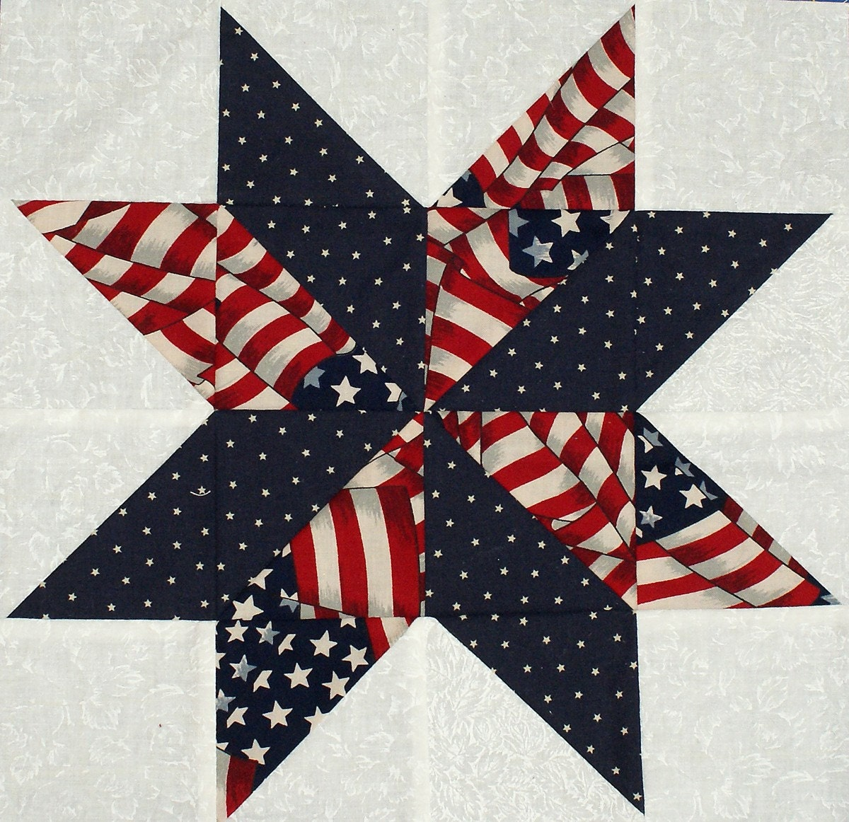 Free Star Flower Quilt Patterns : Starflower Quilt Blocks Patriotic Flag and Star Prints