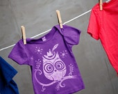 Sale - Owl Baby Lap T-Shirt - Hand Dyed Purple and Screen Printed in Silver Ink - size 3-6 month