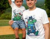 Father's Day Gift Set - Dad and Baby Godzilla Matching Tshirts