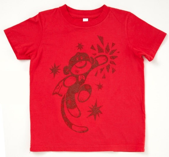 SALE Sock Monkey Shirt Red Toddler American Apparel by ...