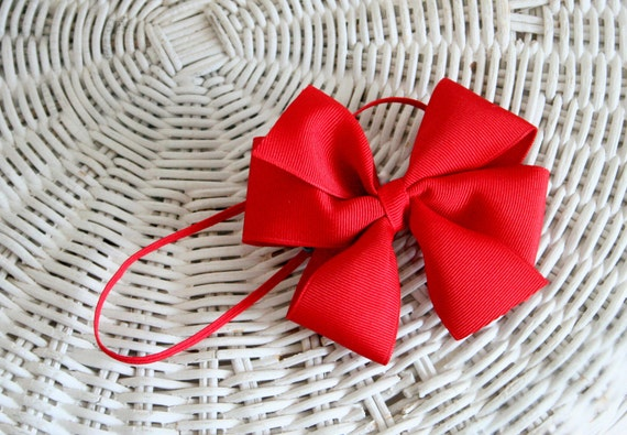 Hair Bow Headband - Red - More Colors - Photo Prop, Baby Shower Gift, Snow White Costume - 1/8 Inch Skinny Headband Pinwheel bow