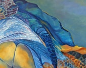 Under The Gliding Sea Turtle Original Oil Painting