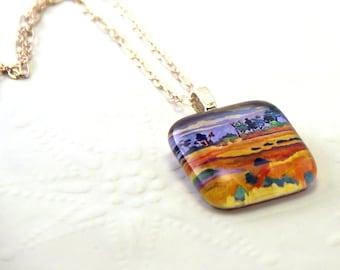 Prairie Landscape Glass Pendant Necklace Fine Art