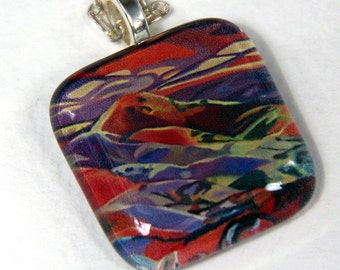 Mountain Landscape Glass Pendant Necklace