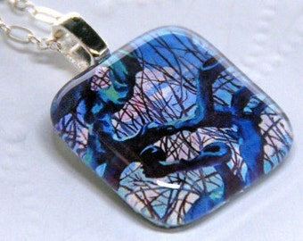 Tree Landscape Glass Pendant Charm Necklace
