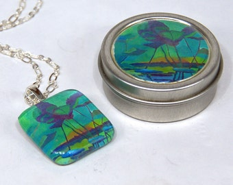 Jean's Pond Fine Art Glass Pendant Charm