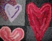 primitive wool hooked rug