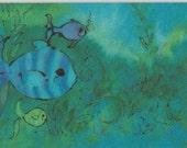 Colorful Vintage Hallmark Postcard School of Fish