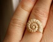 Nude Glitter Seashell Ring