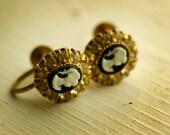 Black Cameo and Rhinestones screw back vintage earrings