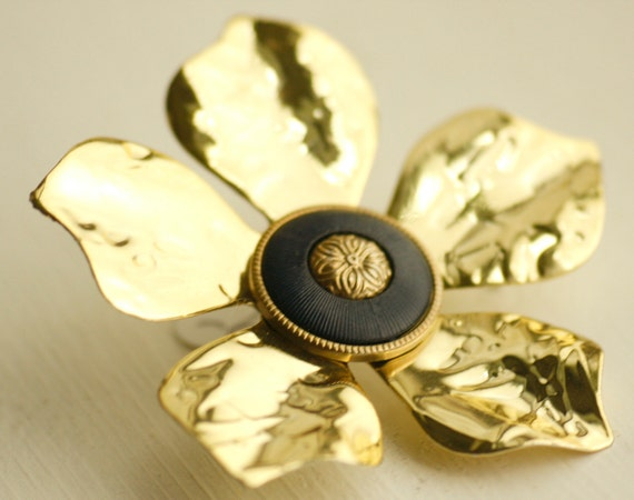 Gold and Navy Flower Brooch