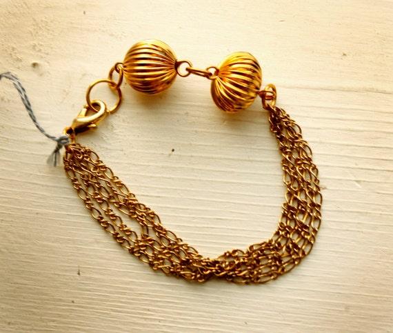 Multistrand Chain bracelet vintage metal beads