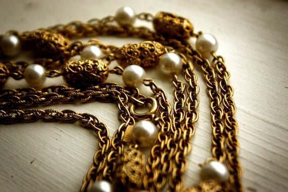 Long filigree and faux pearl necklace by Sarah Coventry