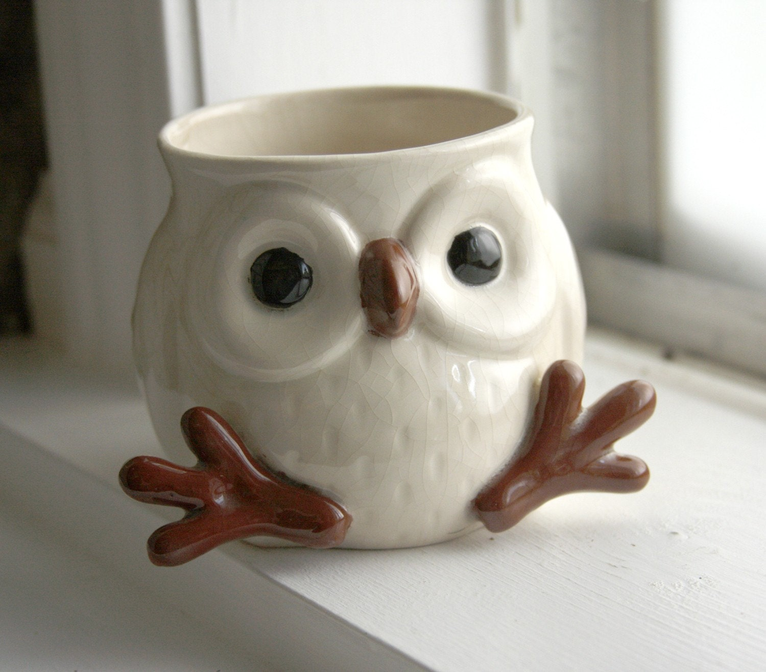 Snow owl mug with feet and face so cute by lydiasvintage for How to make ceramic painting