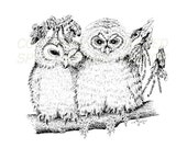 "Forever Love Mates "" OWLS ""  WildLife Birds Night Owl  Print of Original Pen and Ink Sketch 8 x 10"