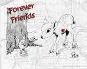 Forever Friends  -  Baby Fawn and Baby Bird, WhiteTail Fawn,Vintage Map,  Print Pen and Ink Original Sketch