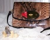 My HEART Purse Wallet Clutch, long shoulder strap, Snakeskin pattern, Austrian Swarovski Crystal
