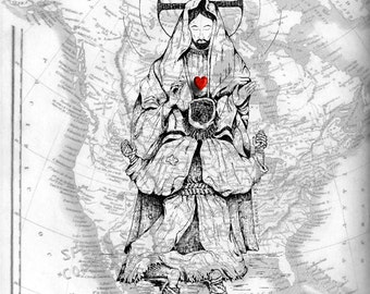Forgiven , Jesus and Sinner , Vintage Map of North America , Print Pen and Ink Original Art Sketch