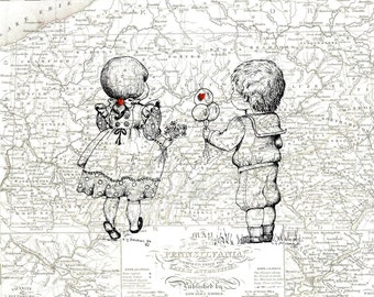 Simple Treasures , Boy and Girl Toddlers , 1837 Map of Pennsylvania , Print Pen and Ink Original Art Sketch